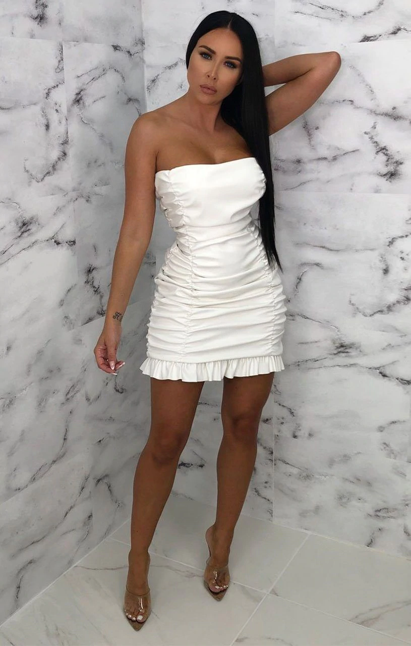 White PU Ruffle Strapless Bodycon Mini Dress - Brody.