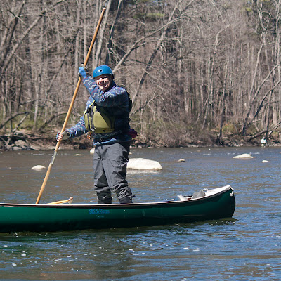 Bob showing his poling technique. Housatonic River with HRCKC by Tom Hart.