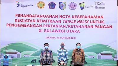 Perkuat Sistem Ketahanan Pangan Di Indonesia Timur, Pemerintah Teken notta Kesepahaman Kemitraan Triple Helix