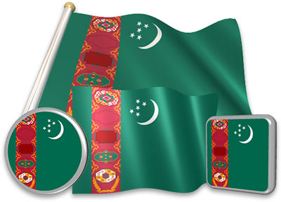 Turkmen flag animated gif collection