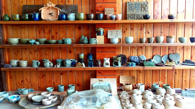 A collection of pottery on display
