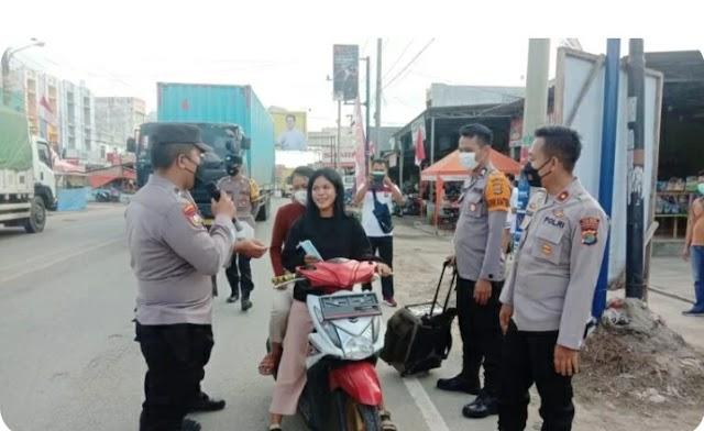 Polres Tulang Bawang dan Polsek Jajaran Secara Serentak Berikan Imbauan Prokes Kepada Warga, Berikut Lokasinya