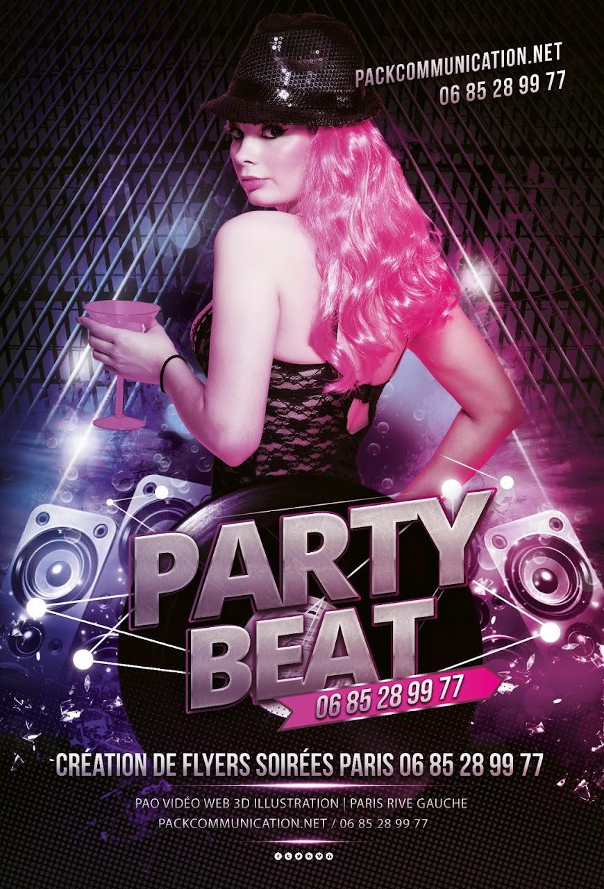 création flyers soirées thème Party Beat