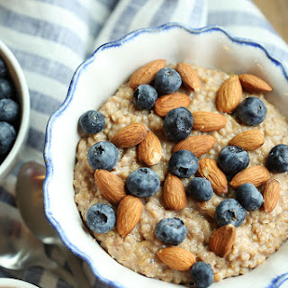 Vanilla Almond Oatmeal with Blueberries.