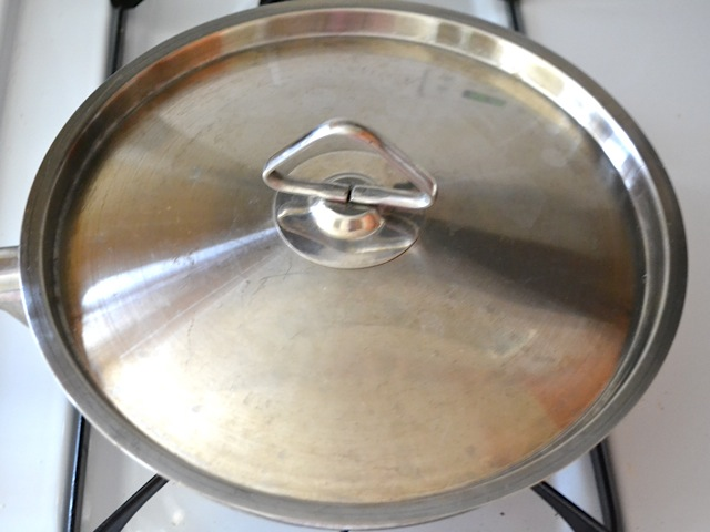 skillet covered with lid to let mixture cook