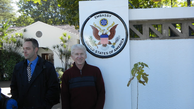 In front of the Ambassador's residence