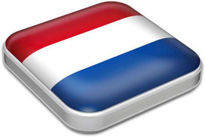 Flag of Netherlands with metallic square frame