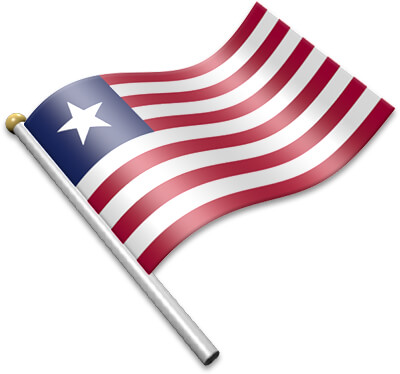 The Liberian flag on a flagpole clipart image