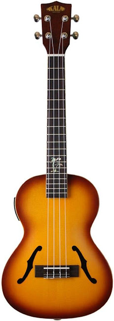Kala Sunburst Jazz Electro-Acoustic arch top Tenor at Lardy's Ukulele Database
