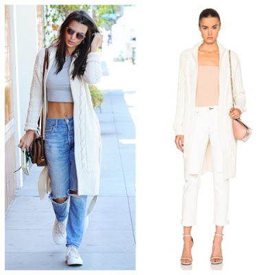 Emily Ratajkowski in Prabal Gurung Long Cardigan in Magnolia