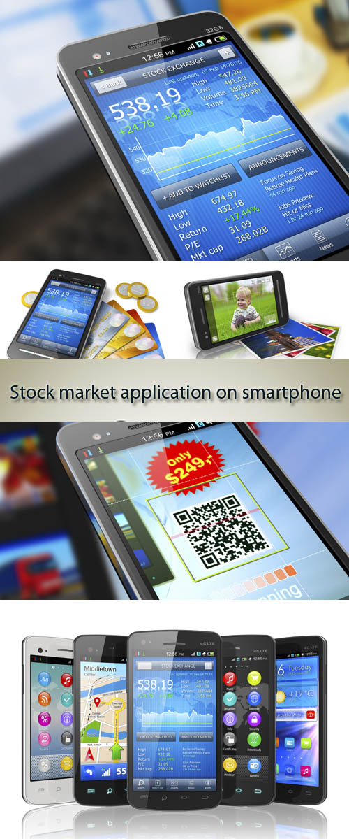 Stock Photo: Stock market application on smartphone
