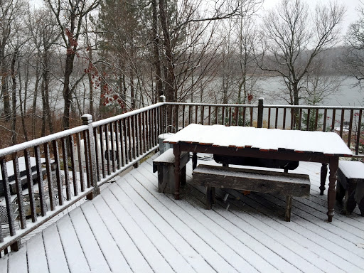 Coating of fresh snow on the deck