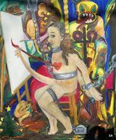 'Pinsel-Herz- Potenz zum Malen', Öl auf Leinwand, 90x110, Oktober 1995