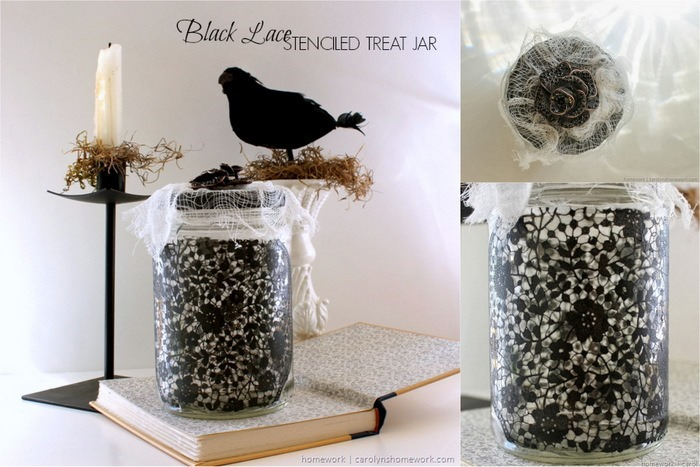 Black Lace Stenciled Halloween Treat Jar by homework - carolynshomework.com