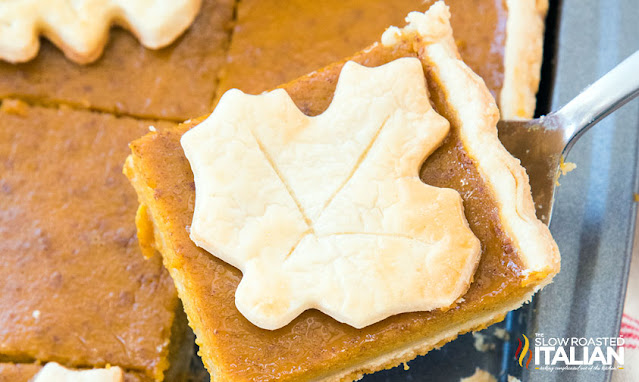 Pumpkin Slab Pie on a cookie sheet