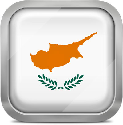 Cyprus square flag with metallic frame