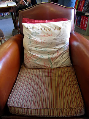 Cushion signed my visiting authors