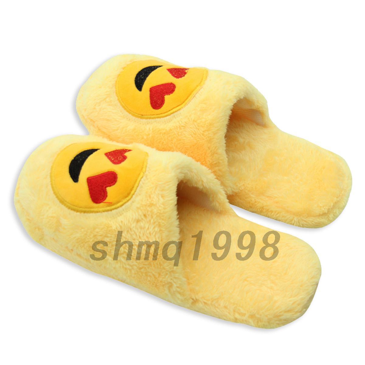 chausson pantoufle emoji mule d 39 hiver chaud coton pantoufles femme fantaisie ebay. Black Bedroom Furniture Sets. Home Design Ideas