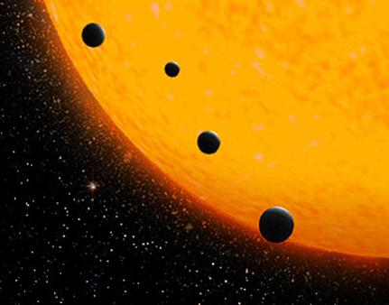 ilustração de exoplanetas orbitando uma estrela anã