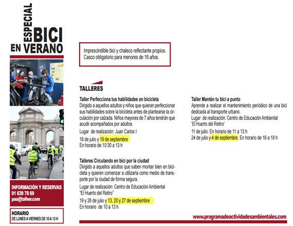 Actividades y talleres de bici del Ayuntamiento - septiembre 2015