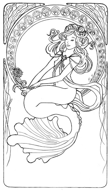 Image Detail For Mucha Mermaid Line Art By Liquidfaestudios On  Deviantart Free Printable Coloring Pagescoloring