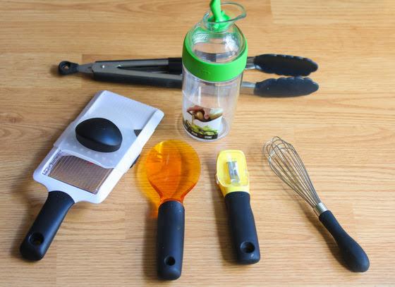 overhead photo of kitchen tools