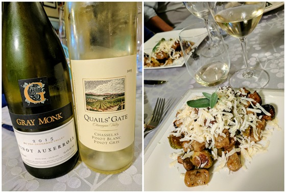 Gray Monk 2015 Pinot Auxerrois & Quails' Gate 2015 Chasselas with Sweet Potato Gnocchi