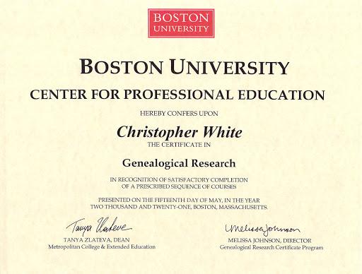 Boston University Certificate in Genealogical Research