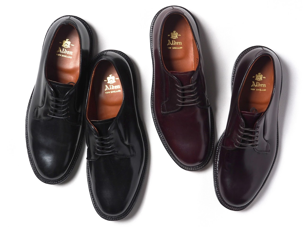 Alden / 990 & 9901 Plain Toe Blucher Oxford Shell Cordovan