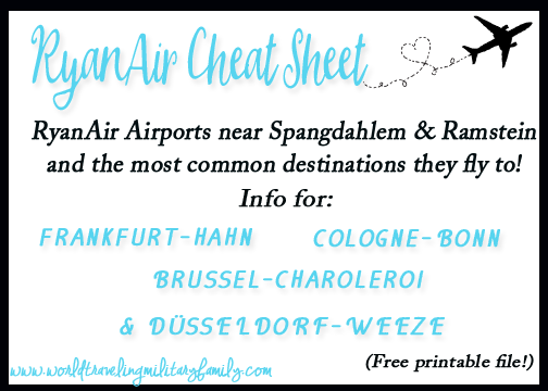 RyanAir Cheat Sheet, it's focused on the Spandahlem & Ramstein area but includes: Frankfurt-Hahn, Cologne-Bonn, Düsseldorf-Weeze, and Brussel-Charleroi!