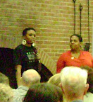 Providence Crowder and Chaplain Ayesha Kreutz of the  Frederick Douglass Foundation