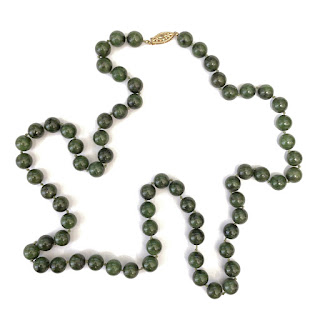 Green Stone and 14K Gold Necklace