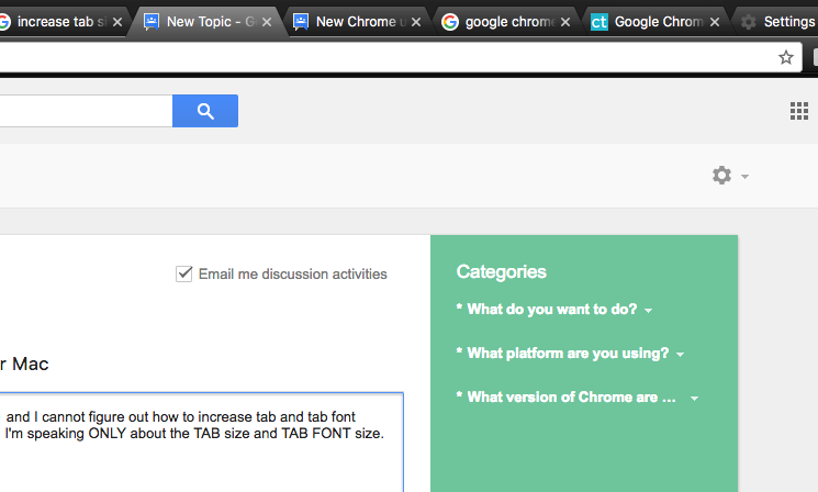 Increasing Tab Size and Tab Font Size in Chrome for Mac - Google