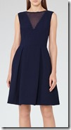Sheer Panel navy fit and flare reiss dress