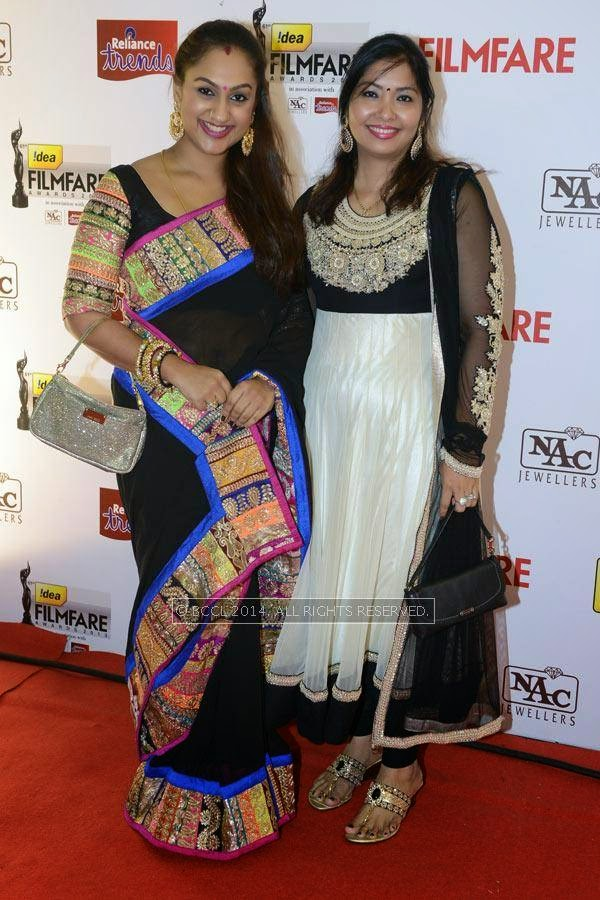 Sridevi with a guest for the 61st Idea Filmfare Awards South, held at Jawaharlal Nehru Stadium in Chennai, on July 12, 2014.