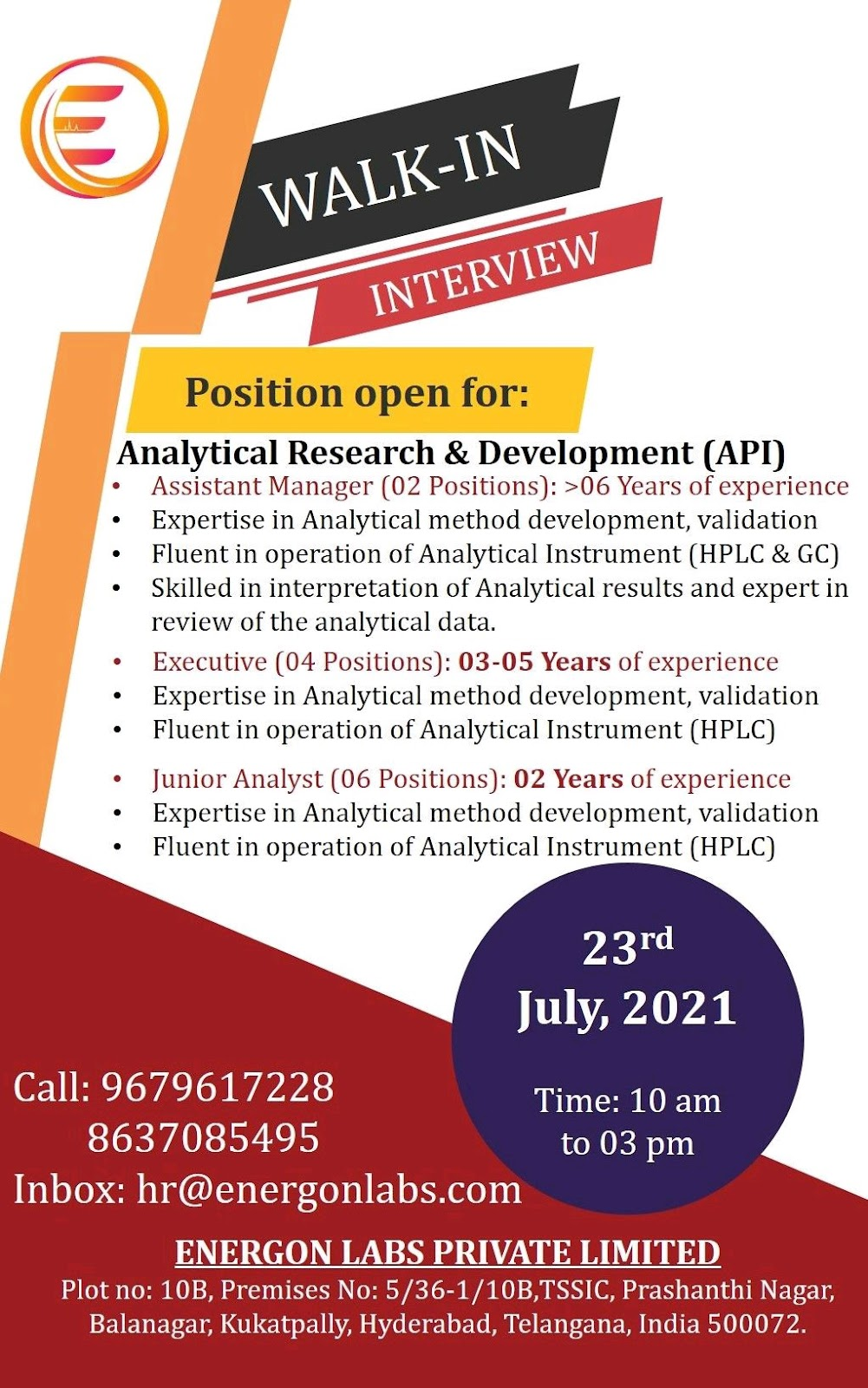 Opening (12 vacancies) For Analytical Research Development At Energon Labs
