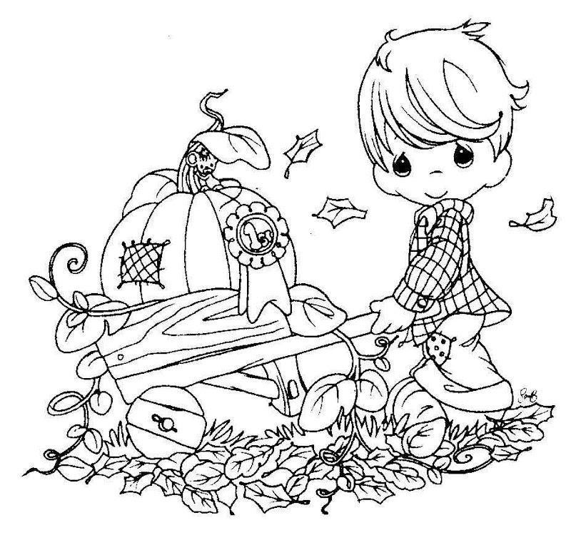 為孩子們的著色頁: Niño con carretilla en otoño de los precious