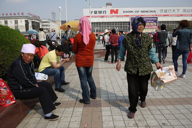 older women at Nanmen Square in Yinchuan, Ningxia, China