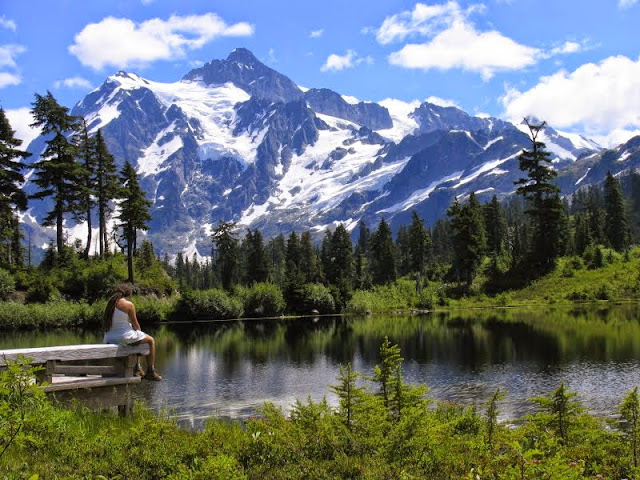 Mount Shuksan and Picture lake are located in the North Cascades National Park, near Bellingham.Credit: Peter James