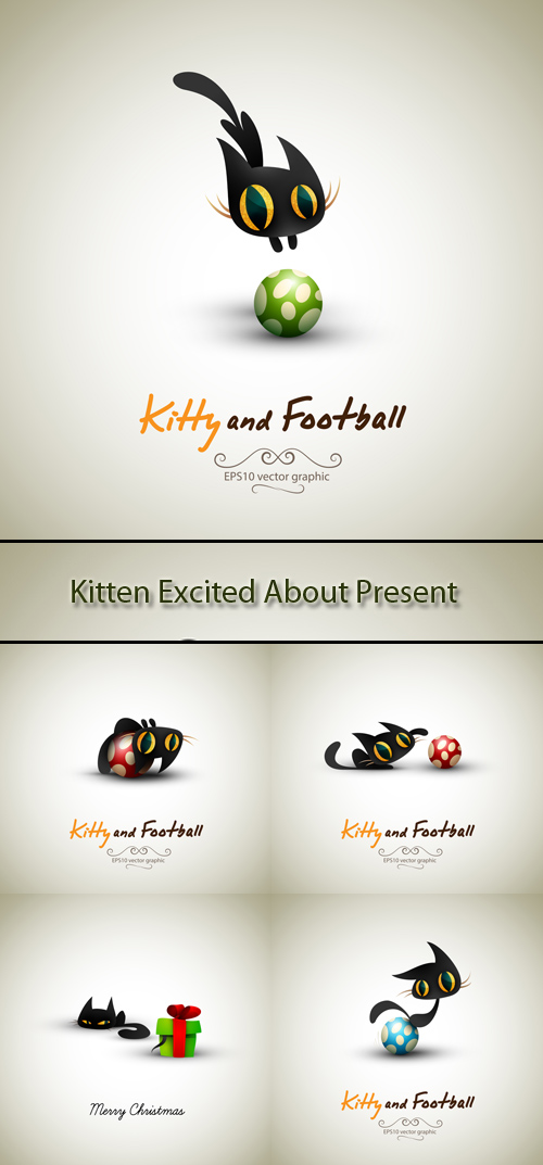 Stock: Kitten excited about present and ball