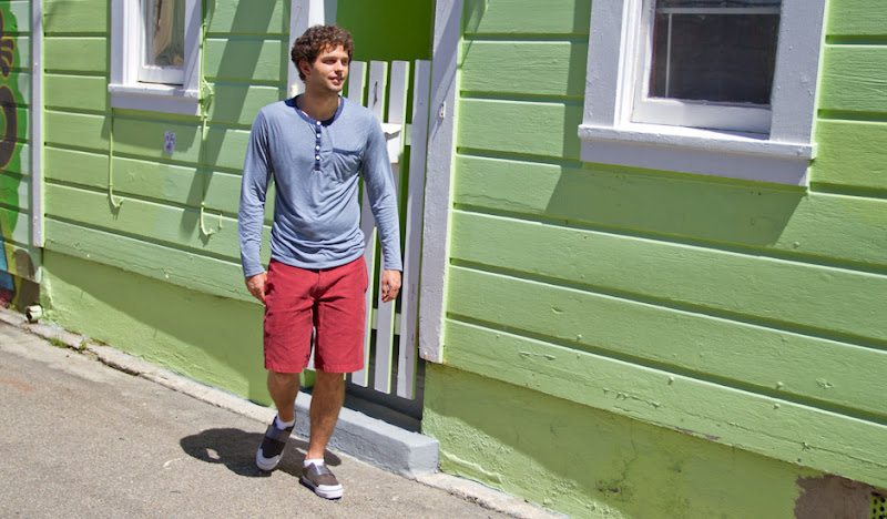 Jackson strutting in the Red Bedford Cord shorts
