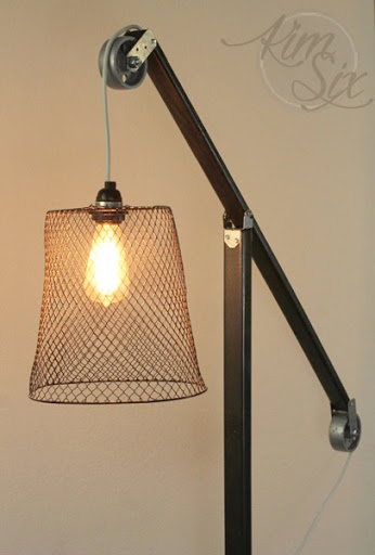Basket And Pulley Vintage Industrial Floor Lamp