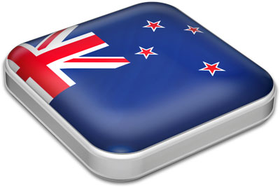 Flag of New Zealand with metallic square frame
