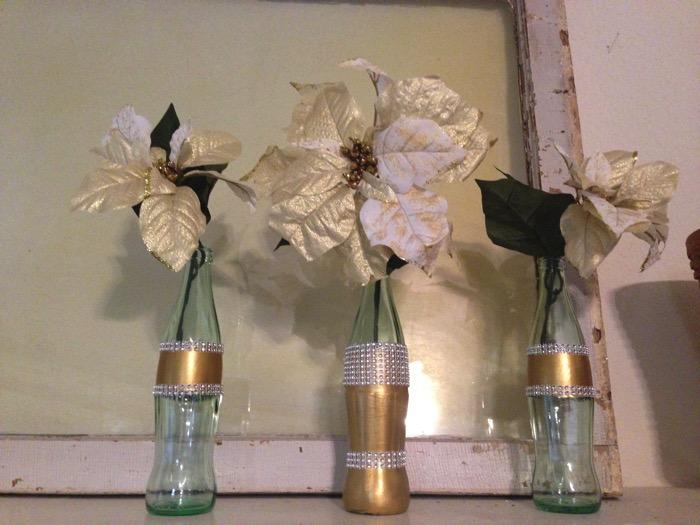 rhinestone vases from coke bottles