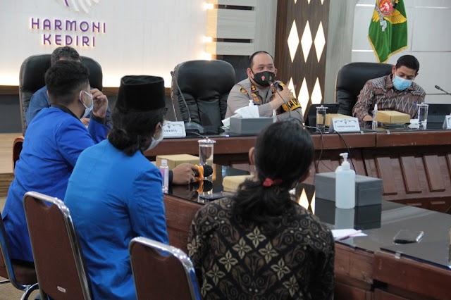 Audensi / diskusi Forkopimda kota kediri Bersama Pengurus PMII Cabang Kediri.