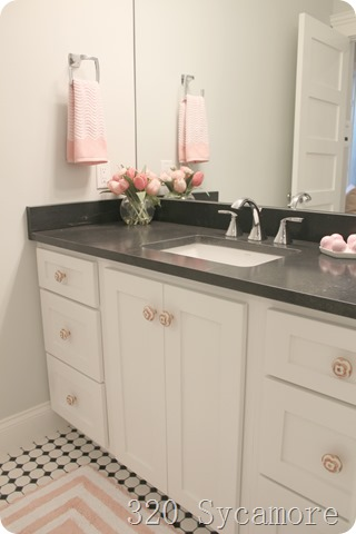 pink accents in bathroom