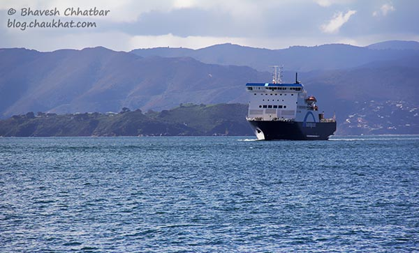 Blue Bridge ship of the Cook Strait, coming towards Frank Kitts Park at Wellington [New Zealand]