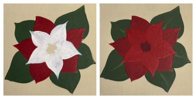 Paint the next layer of Poinsettia petals with DecoArt's Americana acrylic in warm white and then lamp red