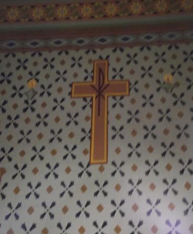 "Cruz com o monogramático que significa ""Cristo"".   p                              >|< -  Monogramático |"