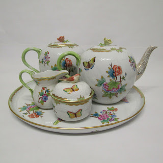 Herend, Hungary Hand-Painted Tea Set